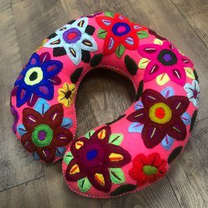 Mexican Handmade Embroidered Neck Pillow Travel